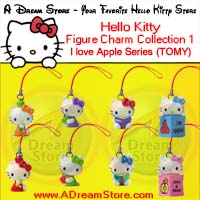 click for FULL SET OF 8PC HELLO KITTY I LOVE APPLE CELL PHONE STRAP COLLECTION SERIES 1 detail